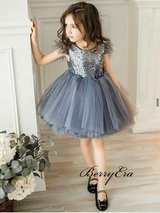Fashion Sequins Flower Girl Dresses, Cute Tulle Wedding Flower Girl Dresses