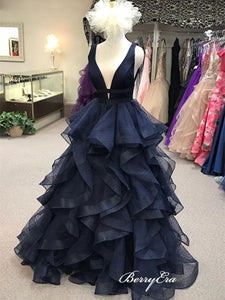 New Trendy Long Prom Dresses, Fluffy Tulle Prom Dresses, V-neck Prom Dresses 2019