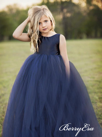 Satin Top Long A-line Tulle Skirt Flower Girl Dresses