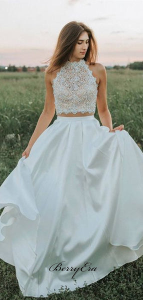 Two Pieces Lace A-line Wedding Dresses, Trendy Halter Wedding Dresses