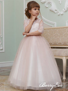 Half Sleeves Princess Blush Pink Lace Tulle Flower Girl Dresses