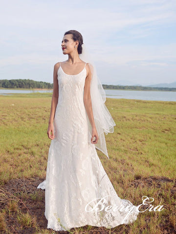 Spaghetti Sheath Lace Tulle Wedding Dresses, Bridal Gown