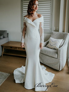 Off The Shoulder Mermaid Wedding Dresses, Long Sleeves Lace Wedding Dresses