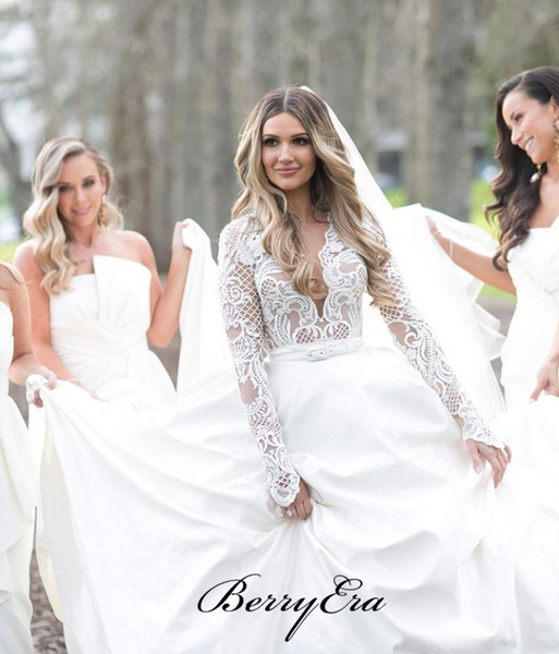 A-line Satin Lace Wedding Dresses, Long Sleeves Newest Bridal Gowns