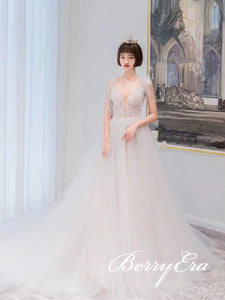 Gorgeous Beaded Tulle Long Wedding Dresses, Bridal Gown