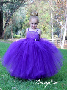 Spaghetti Lovely Beaded Tulle Flower Girl Dresses