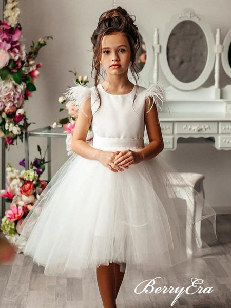 Lovely Ivory Satin Tulle Flower Girl Dresses With Bow Knot