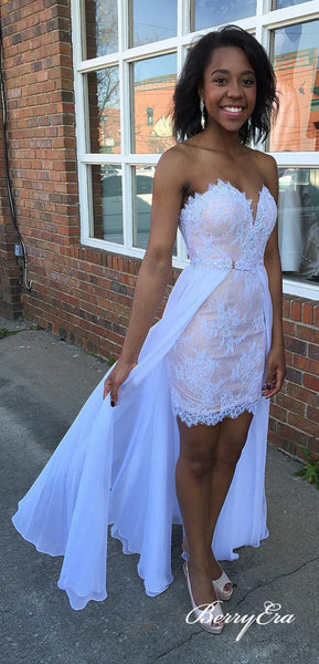 2 Pieces White Lace Chiffon Homecoming Dresses, Prom Dresses