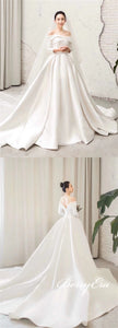 Off Shoulder Ivory Satin Wedding Dresses, Long Sleeves Bridal Gown