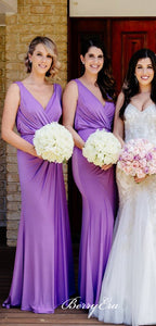 V-neck Purple Jersey Sheath Long Bridesmaid Dresses
