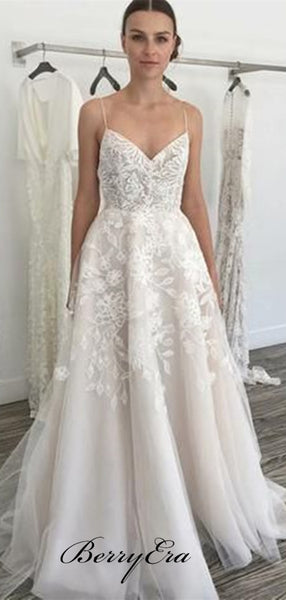 Spaghetti Straps A-line Wedding Dresses, Popular Lace Wedding Dresses