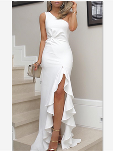 One Shoulder Slit Long Prom Dress, White Prom Dress 2019