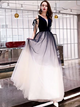 Black&White A-line Long Prom Dress, Tulle Long Evening Party Dress 2019