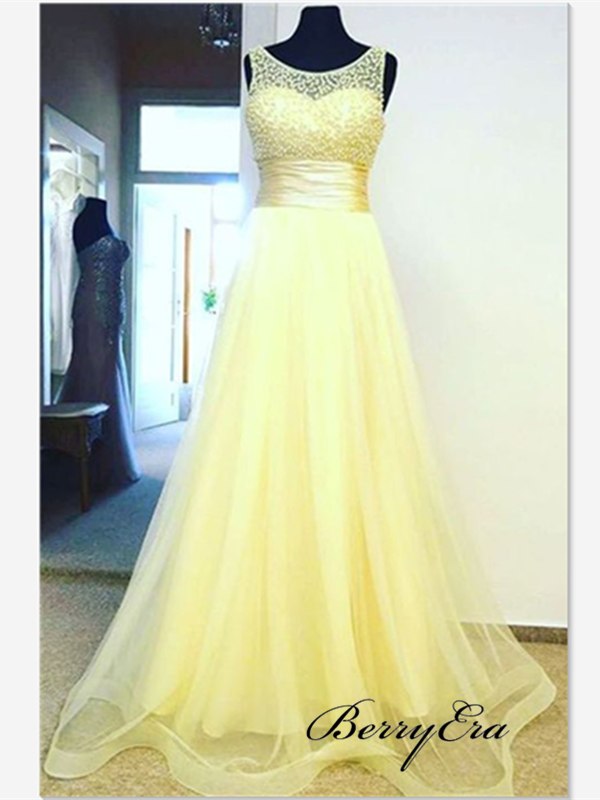 Beaded A-line Long Prom Dresses, Elegant Tulle Long Prom Dresses