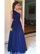 Cheap Long Prom Dress, Tulle Prom Dress, One Shoulder Prom Dress