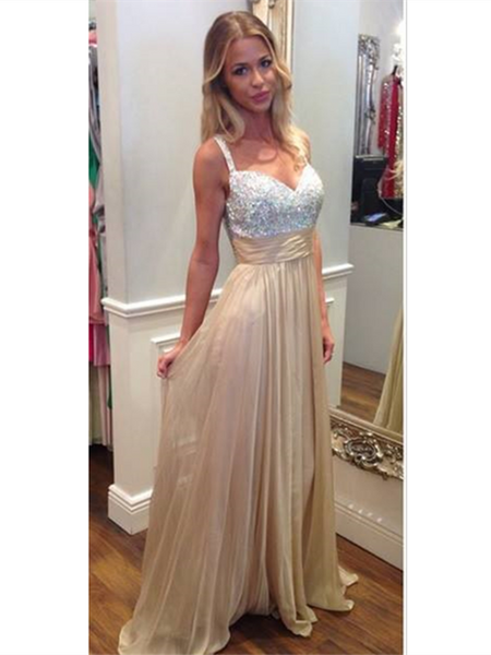 Bling Rhinestones Beaded Long Prom Dresses, Nice Prom Dresses, Long Prom Dress