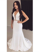 White Color Mermaid Long Prom Dresses, Cheap Beaded Prom Dresses