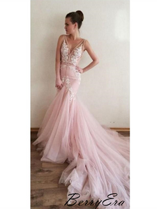 Pink Sweet Lace Long Prom Dresses, Mermaid Tulle Party Prom Dresses