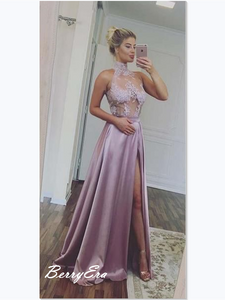 High Neck Purple Slit A-line Prom Dresses, Sexy Lace Prom Dresses