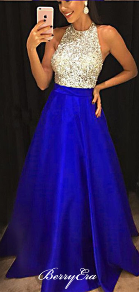 Stain A-line Halter Long Prom Dresses, Beaded Beauty Prom Dresses