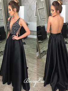 Beaded Beauty Long A-line Prom Dresses, Cheap Satin Prom Dresses