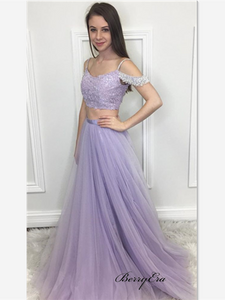 A-line Tulle Prom Dresses, Light Purple Prom Dresses, Off Shoulder Beaded Prom Dresses
