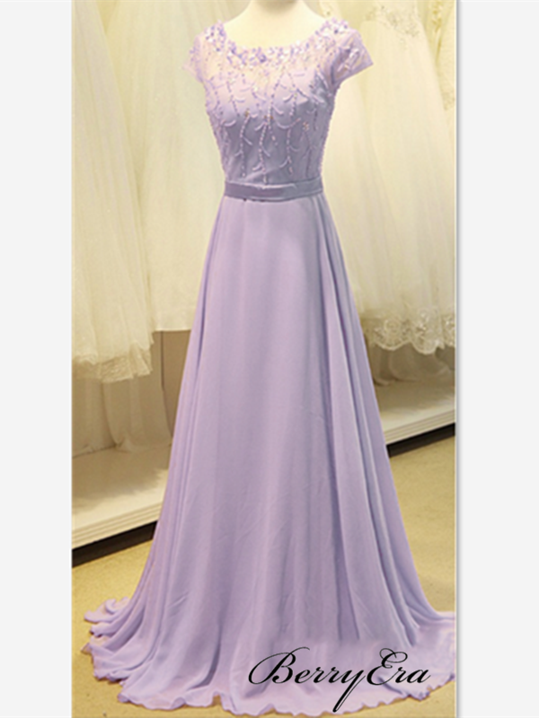 Pale Purple Chiffon Prom Dresses, Beaded Prom Dresses, Popular Prom Dresses