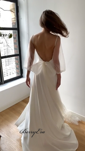 Simple Elegant Chiffon Tulle Long Wedding Dresses, Bridal Gown