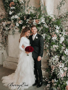Elegant Long Sleeves Wedding Dresses, Unique Fluffy Wedding Dresses