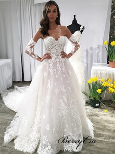 Sweetheart Long Sleeves Wedding Dresses, Lace A-line Wedding Dresses