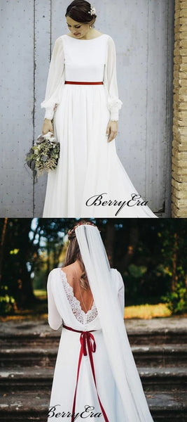 Long Sleeves Popular Wedding Dresses, Simple Chiffon Wedding Dresses