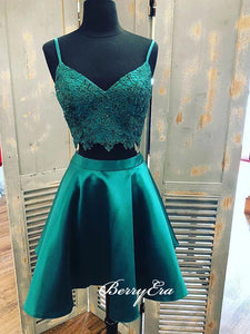 Two Pieces Homecoming Dresses, Dark Green Short Prom Dresses