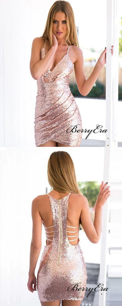 Mermaid Sequins Homecoming Dresses, Sexy Home Party Short Prom Dresses