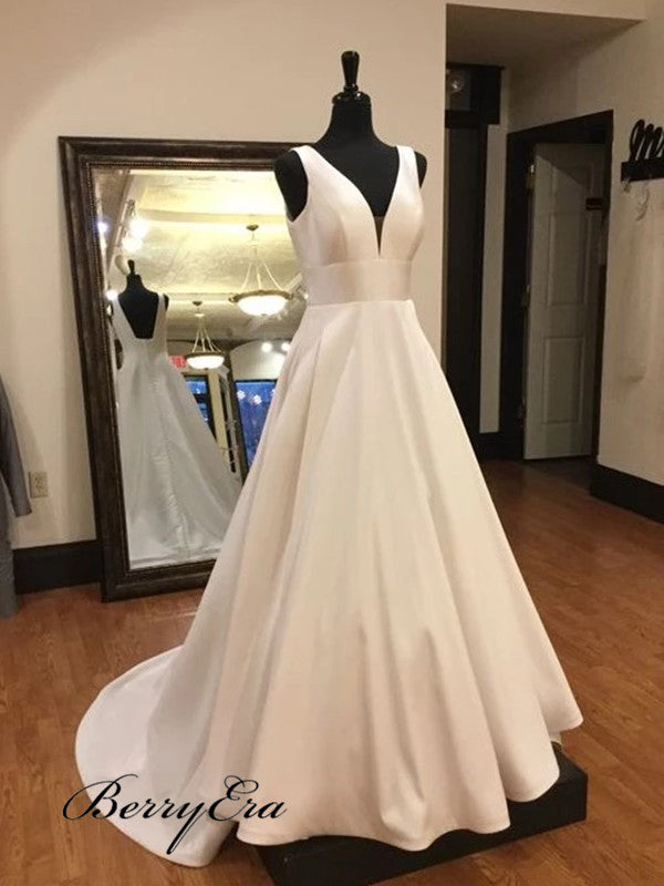 A-line Elegant Wedding Dresses, V-neck Popular Wedding Dresses
