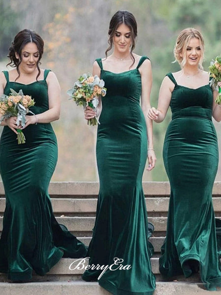Mermaid Design Wedding Bridesmaid Dresses, Velvet Bridesmaid Dresses