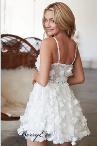 Spaghetti Straps Appliques Homecoming Dresses, Elegant Short Prom Dresses