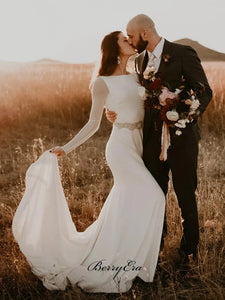 Long Sleeves Wedding Dresses, Simple Design Custom Wedding Dresses