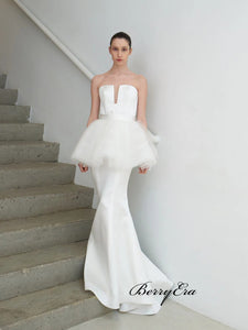 Strapless Mermaid Wedding Dresses, Unique Design Custom Wedding Dresses