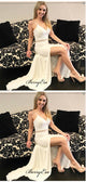 Straps Simple Wedding Dresses, High Slit Lace Wedding Dresses