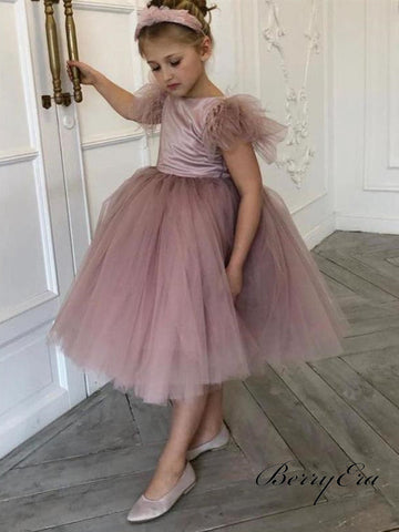 Dusty Pink Loveky Tulle Satin Flower Girl Dresses