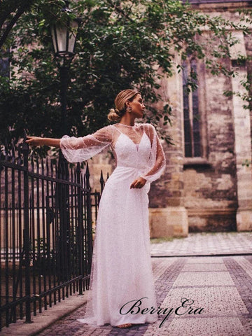 Popular See Through Wedding Dresses, Pearls Tulle Wedding Dresses