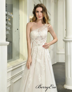 Modest One Shoulder Lace Wedding Dresses, A-line Elegant Bridal Gowns