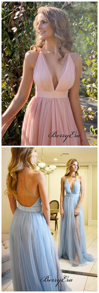 Deep V-neck Bridesmaid Dresses, Open Back Slit Bridesmaid Dresses
