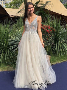 Tulle A-line Long Prom Dresses, V-neck Beaded Prom Dresses