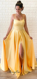 Simple Yellow Long Prom Dresses, Cheap A-line Newest Prom Dresses 2020