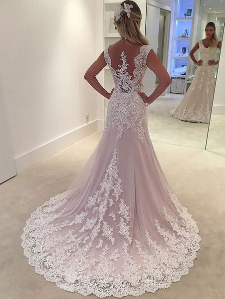 V-neck Long Lace Wedding Dresses, Elegant Bridal Gown