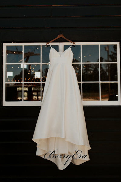 Spaghetti Long A-line Satin Wedding Dresses, Simple Bridal Gown, Long Wedding Dresses