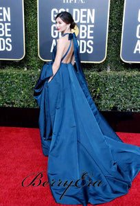 Gemma Chan 76th Golden Globe Awards Dark Teal Gown, Affordable Long Prom Dresses
