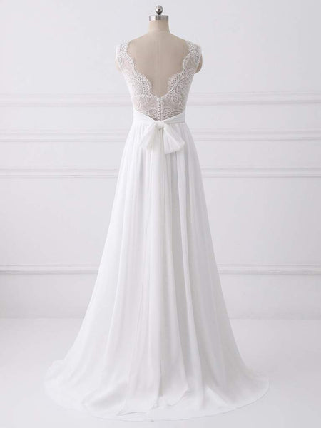 Simple Long A-line Lace Chiffon Wedding Dresses