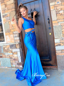2 Pieces One Shoulder Long Prom Dresses, One Shoulder Mermaid Prom Dresses 2020
